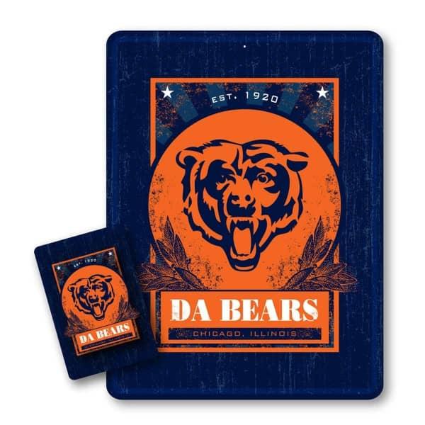 Chicago Bears Throwback NFL Metallschild & Magnet Set