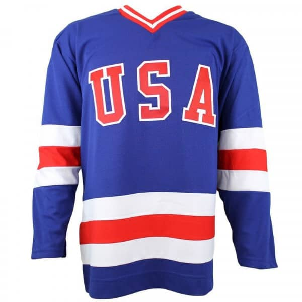 Team USA 1980 Olympic Replica Away Eishockey Trikot Blau