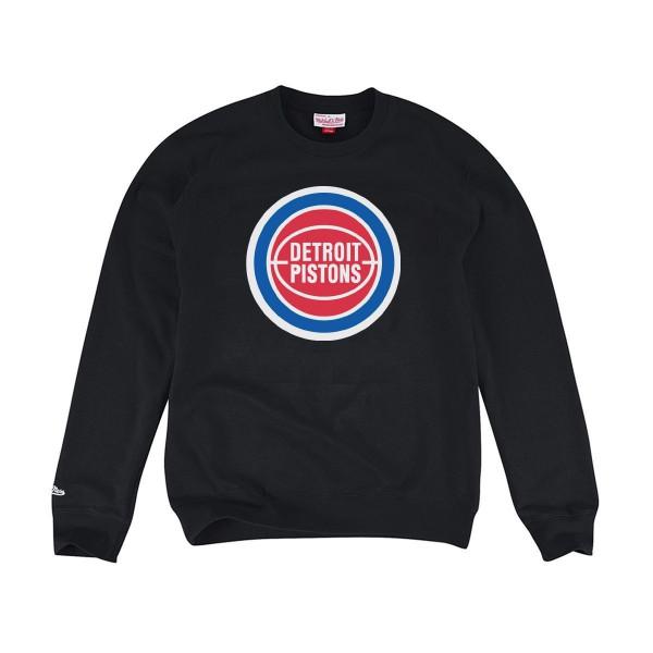 b98d9b7ee0f Mitchell & Ness Detroit Pistons Team Logo NBA Crewneck Sweatshirt Black    TAASS.com Fan Shop