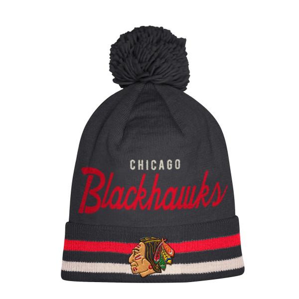 competitive price a2b87 e8625 ... australia adidas chicago blackhawks cuffed beanie pom nhl knit hat  taass fan shop 5676b 77852