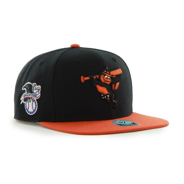 Baltimore Orioles Two-Tone Sure Shot '47 Captain Snapback MLB Cap Schwarz
