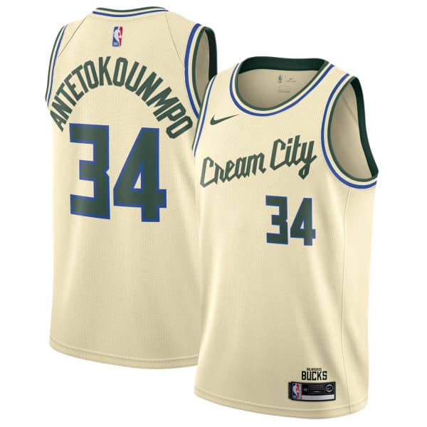 Giannis Antetokounmpo #34 Milwaukee Bucks 2019/20 Cream City Edition Swingman NBA Trikot
