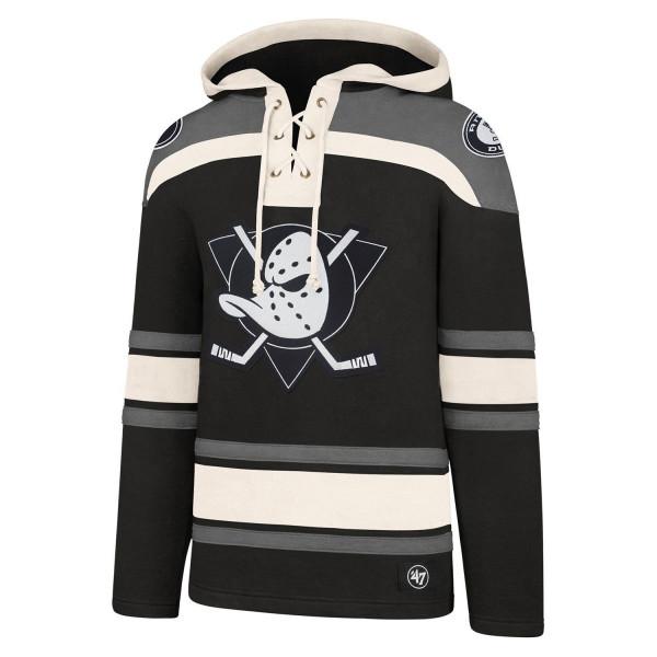 Anaheim Ducks Black & White Lacer Jersey Hoodie NHL Sweatshirt