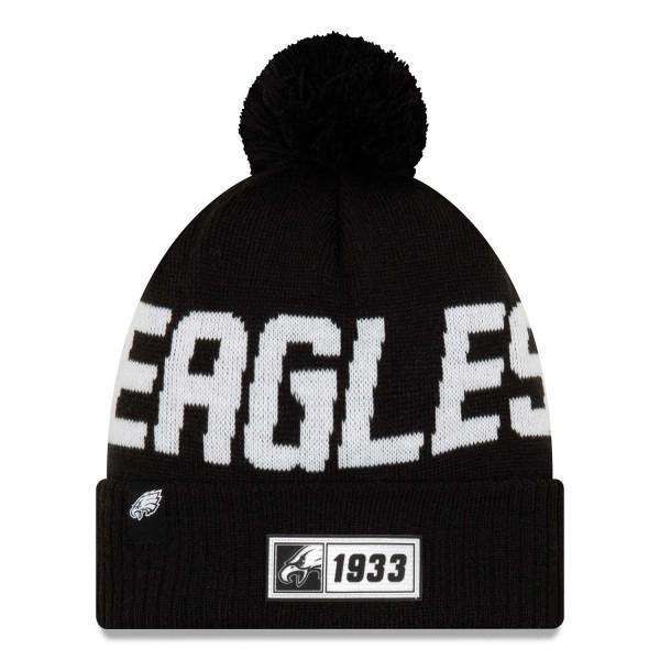 Philadelphia Eagles Black 2019 NFL Sideline Sport Knit Wintermütze Road