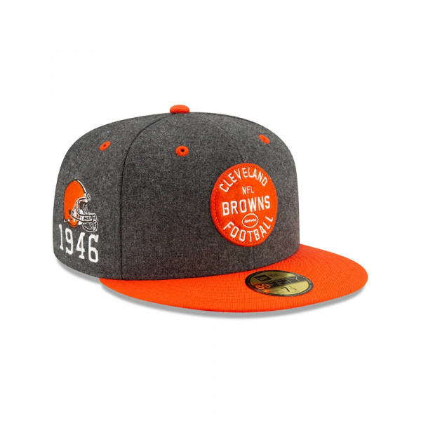Cleveland Browns 2019 NFL On-Field Sideline 59FIFTY Fitted Cap Home