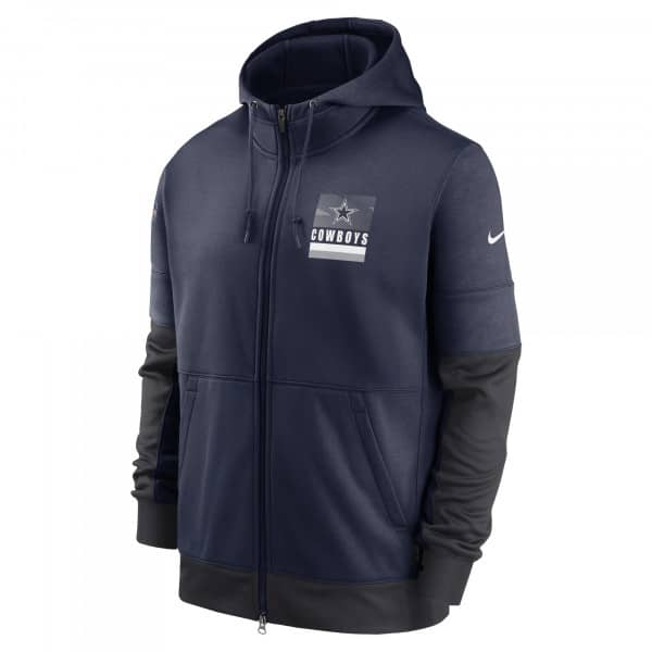 Dallas Cowboys 2020 NFL Sideline Lockup Nike Therma Full-Zip Hoodie