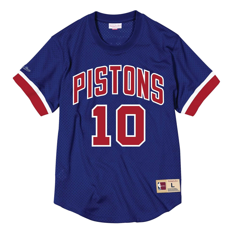 37ae47e0829 Mitchell   Ness Dennis Rodman  10 Detroit Pistons HWC NBA Mesh Crewneck  Shirt Blue