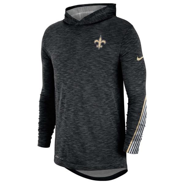 New Orleans Saints 2019 NFL Sideline Scrimmage Long Sleeve Hoodie Tee Schwarz