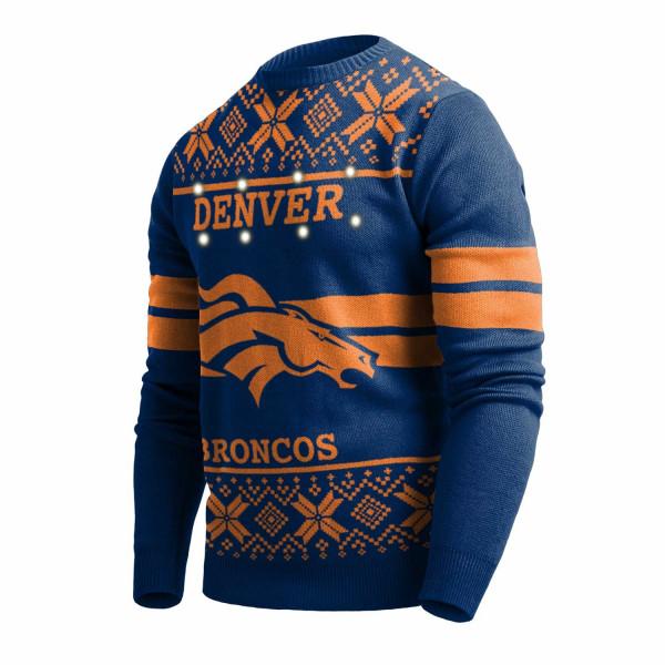 Denver Broncos 2 Stripe Light Up NFL Ugly Holiday Sweater
