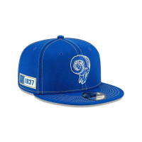 Los Angeles Rams Throwback 2019 NFL On-Field Sideline 9FIFTY Snapback Cap Road