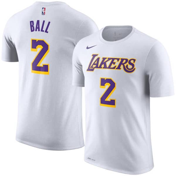 Nike Lonzo Ball  2 Los Angeles Lakers Player NBA T-Shirt White ... f9452b9c6