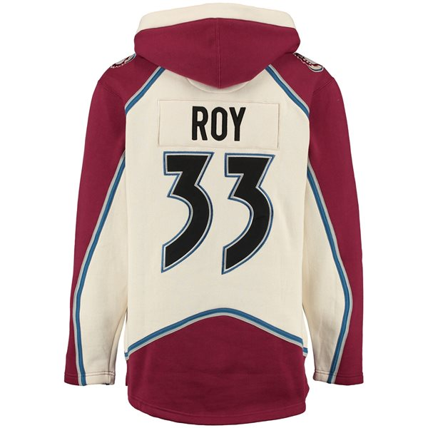 Colorado Avalanche Patrick Roy Lacer Jersey Hooded NHL Sweatshirt 5bd619bb8
