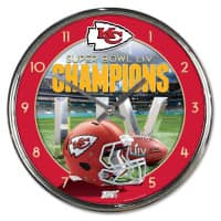Kansas City Chiefs Super Bowl LIV Champions Chrome NFL Wanduhr