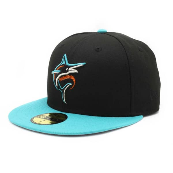 Miami Marlins Primary Logo 59FIFTY Fitted MLB Cap Schwarz-Teal