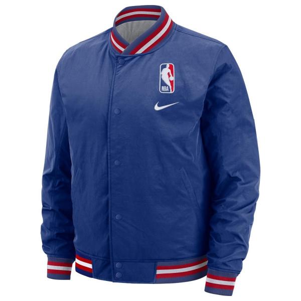 NBA Logo College Style Basketball Jacke Blau