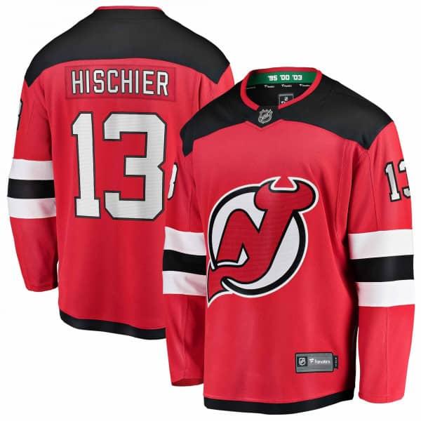Nico Hischier #13 New Jersey Devils Fanatics Breakaway NHL Trikot Home