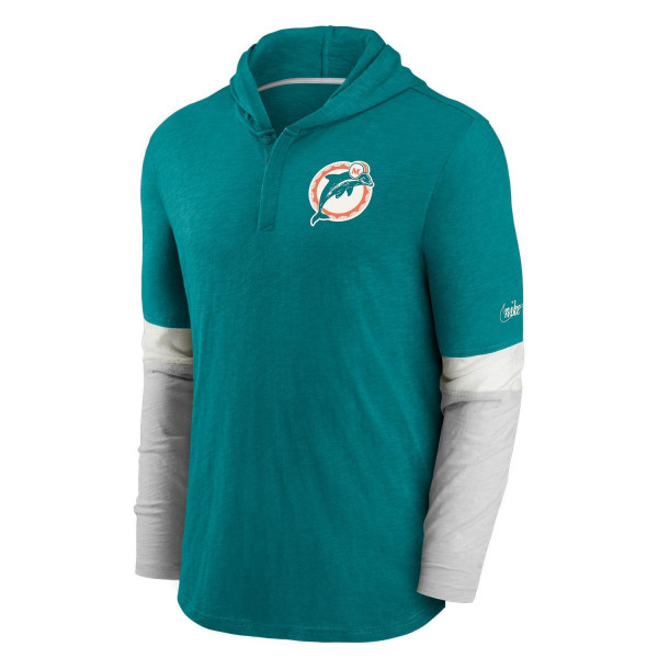Miami Dolphins 1997 NFL Historic Nike Long Sleeve Henley Hoodie