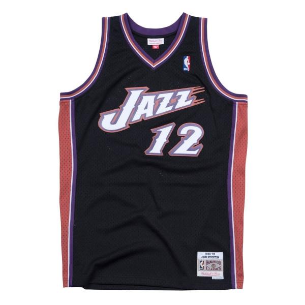 John Stockton #12 Utah Jazz 1998-99 Swingman NBA Trikot Schwarz