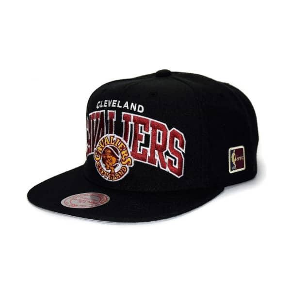 790bb62dc55a1 Mitchell   Ness Cleveland Cavaliers Arch HWC Patch Snapback NBA Cap Black