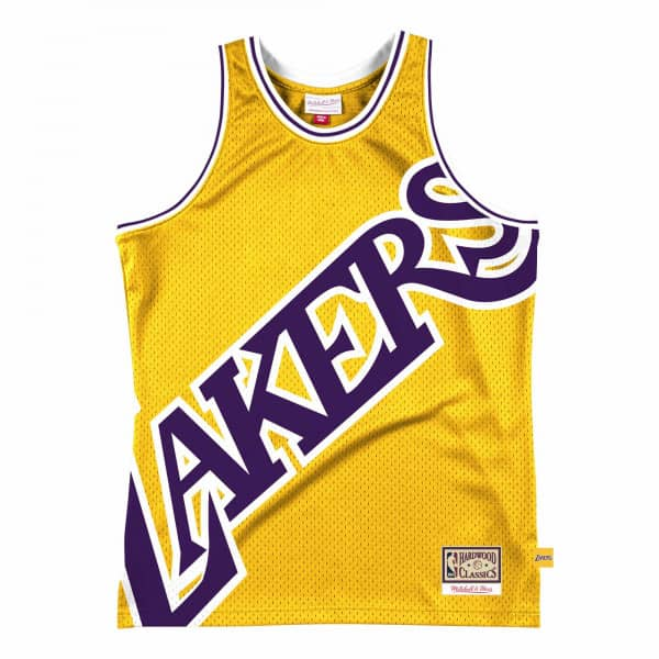 Los Angeles Lakers Big Face 2.0 Mitchell & Ness NBA Jersey Gelb