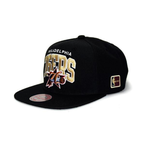 2d11ba21b07 Mitchell   Ness Philadelphia 76ers Arch HWC Patch Snapback NBA Cap Black
