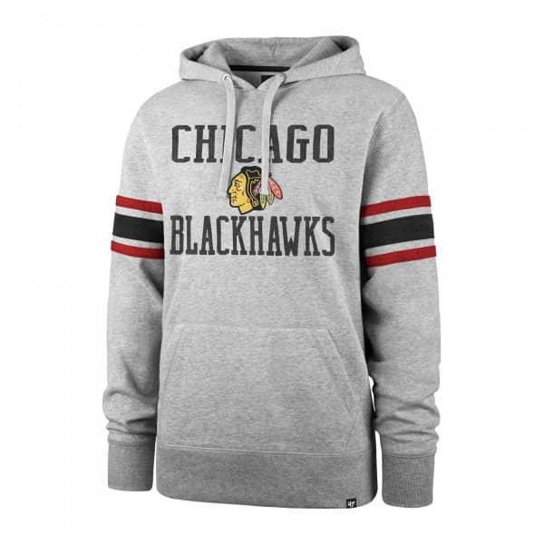 Chicago Blackhawks Stripe Sleeve '47 Double Block NHL Hoodie Grau