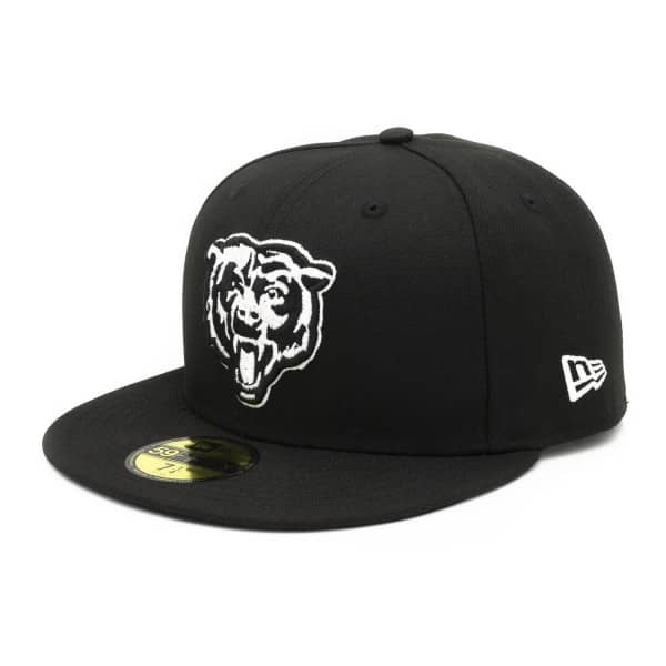 Chicago Bears Black & White Alternate Logo 59FIFTY Fitted NFL Cap