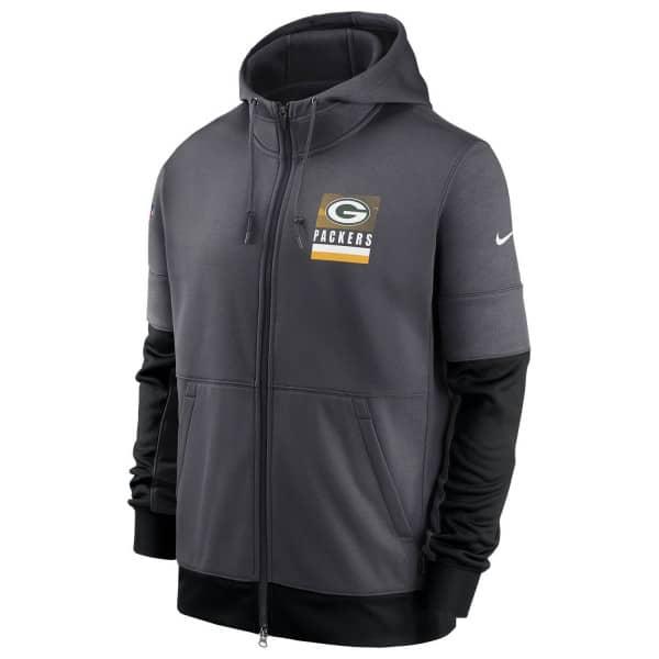 Green Bay Packers 2020 NFL Sideline Lockup Nike Therma Full-Zip Hoodie