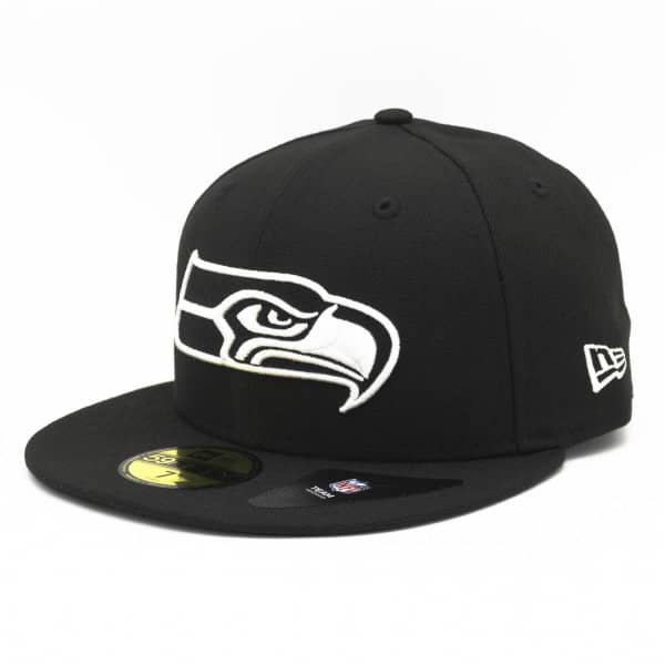Seattle Seahawks Black & White 59FIFTY Fitted NFL Cap