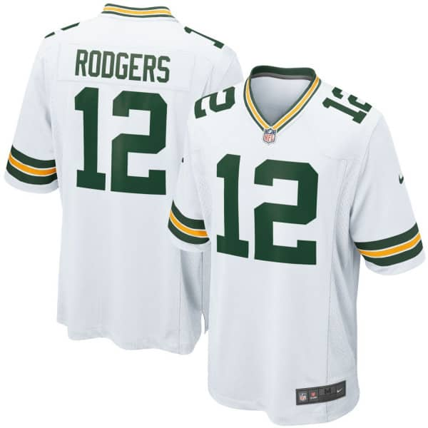 Aaron Rodgers #12 Green Bay Packers Game Football NFL Trikot Weiß