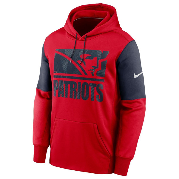 New England Patriots Mascot Stack Nike Therma Pullover Hoodie Rot