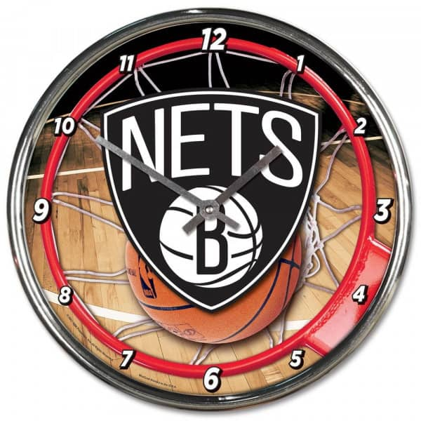Brooklyn Nets Chrome NBA Wanduhr