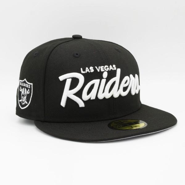 Las Vegas Raiders Script New Era 59FIFTY Fitted NFL Cap Schwarz