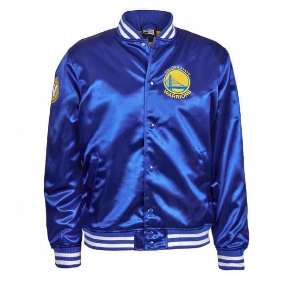 newest e3ed2 fa042 New Era Golden State Warriors Tip Off Satin NBA Jacket Blue   TAASS.com Fan  Shop
