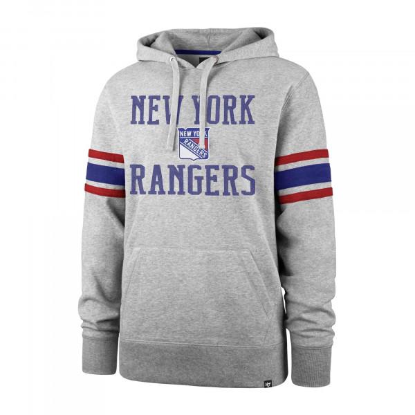 New York Rangers Stripe Sleeve '47 Double Block NHL Hoodie Grau