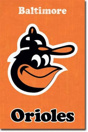 Baltimore Orioles Retro Team Logo Baseball MLB Poster RP5124