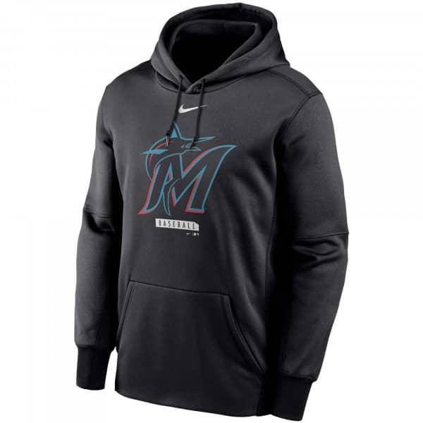 Miami Marlins Logo Nike Therma Performance MLB Hoodie Schwarz