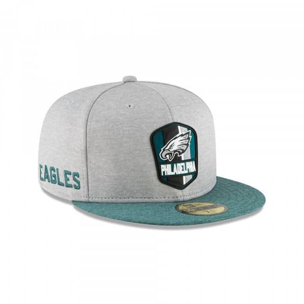 Philadelphia Eagles 2018 NFL Sideline 59FIFTY Fitted Cap Road