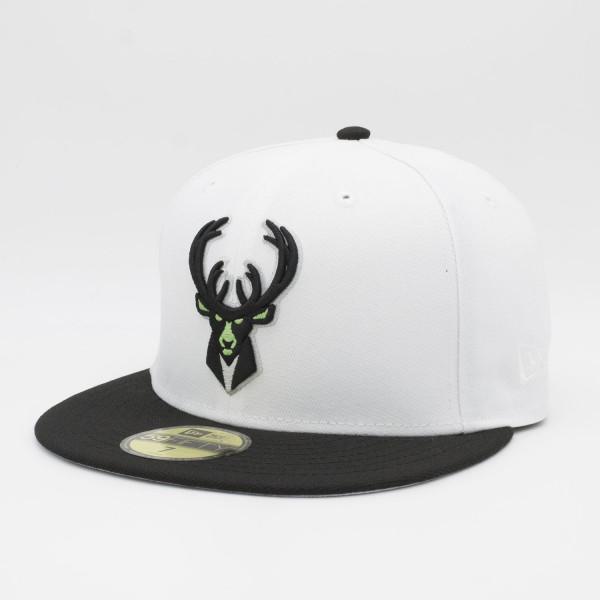 Milwaukee Bucks White Top 59FIFTY Fitted NBA Cap Weiß/Schwarz