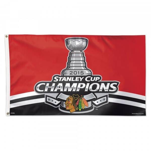 Chicago Blackhawks 2015 Stanley Cup Champions NHL Hissfahne 150 x 90 cm