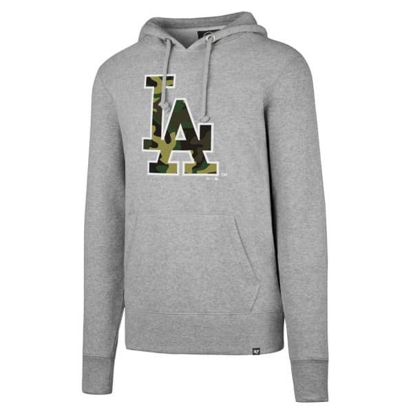 Los Angeles Dodgers Camo Logo Headline MLB Hoodie Sweatshirt