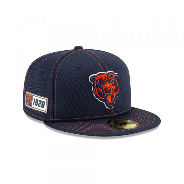 Chicago Bears Throwback 2019 NFL On-Field Sideline 59FIFTY Fitted Cap Road