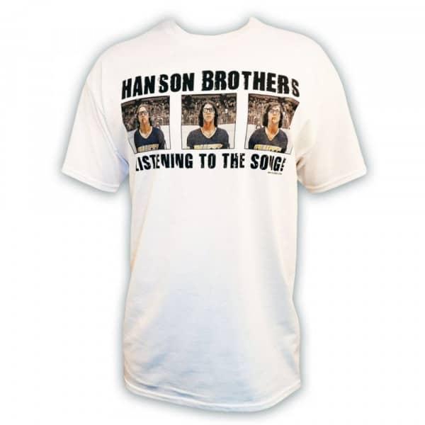 Slapshot Hanson Brothers 'Listening to the Song!' Eishockey T-Shirt Weiß