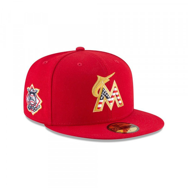 new style 3c6fe 51aee New Era Miami Marlins 4th of July 2018 59FIFTY Fitted MLB Cap   TAASS.com  Fan Shop