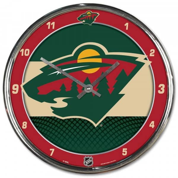 Minnesota Wild Chrome NHL Wanduhr