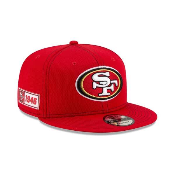 San Francisco 49ers 2019 NFL On-Field Sideline 9FIFTY Snapback Cap Road