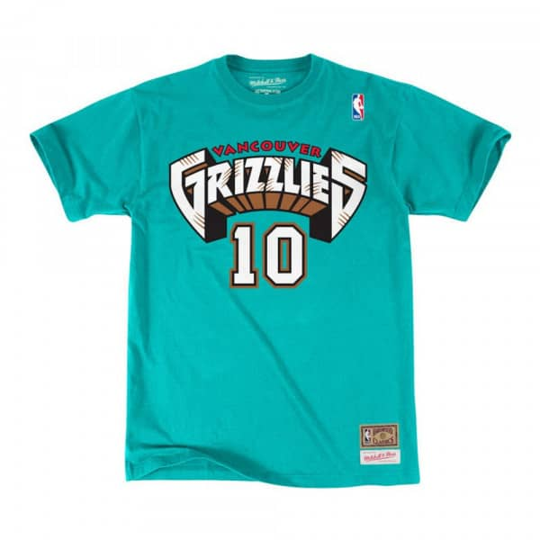 Mike Bibby #10 Vancouver Grizzlies Mitchell & Ness Name & Number NBA T-Shirt Türkis