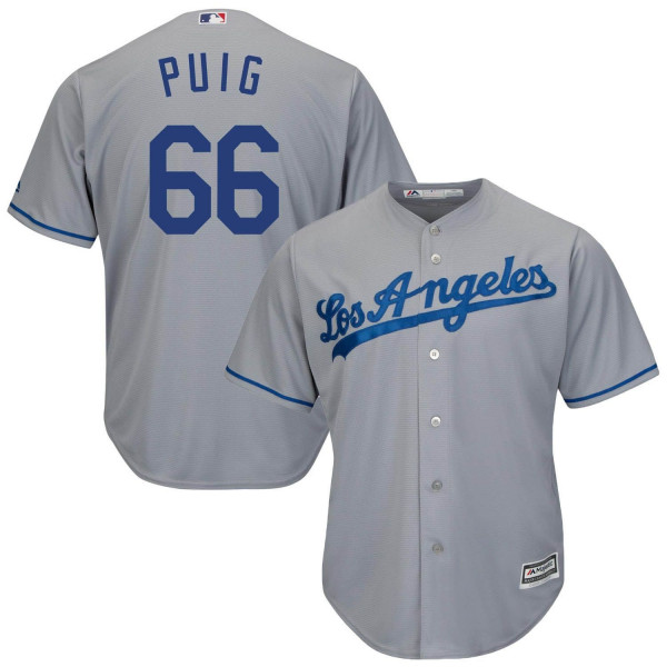 Yasiel Puig #66 Los Angeles Dodgers Cool Base MLB Trikot Road