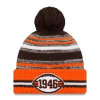 Cleveland Browns Throwback 2021 NFL Sideline New Era Sport Knit Wintermütze
