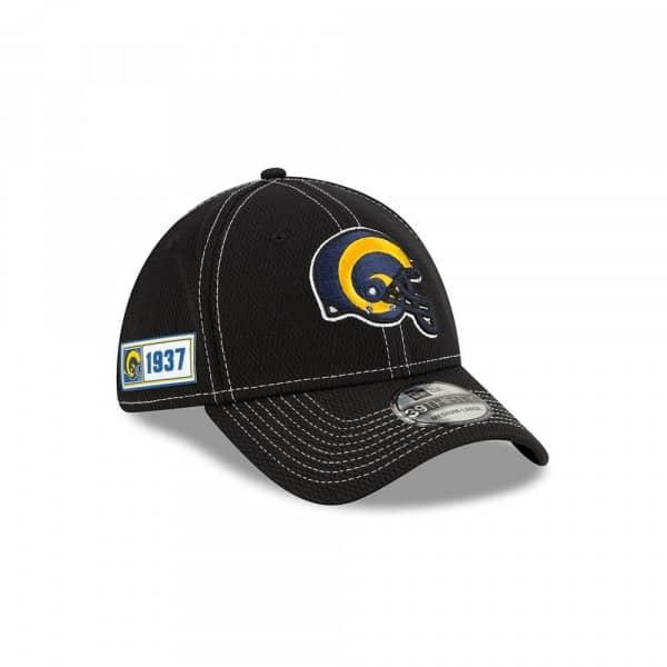 Los Angeles Rams Helmet 2019 NFL Sideline Black 39THIRTY Stretch Cap Road